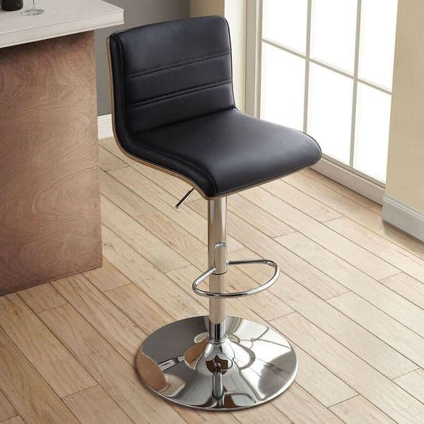 Bayside Furnishings Black Bonded Leather Gas Lift Bar Stool with Wooden Back